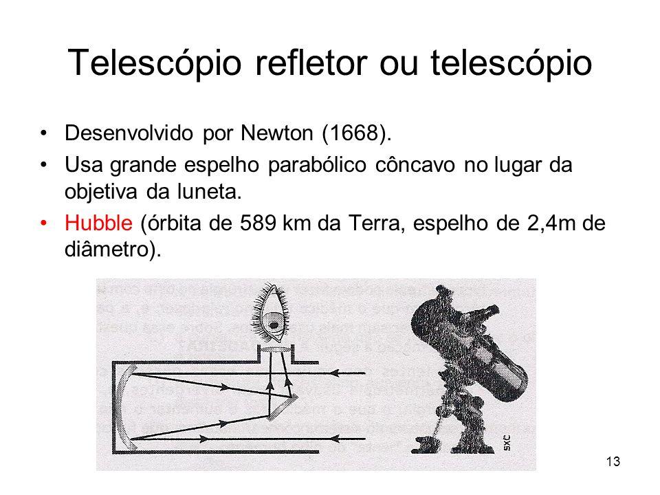 13 Telescópio refletor ou telescópio Desenvolvido por Newton (1668). Usa grande espelho parabólico côncavo no lugar da objetiva da luneta. Hubble (órb
