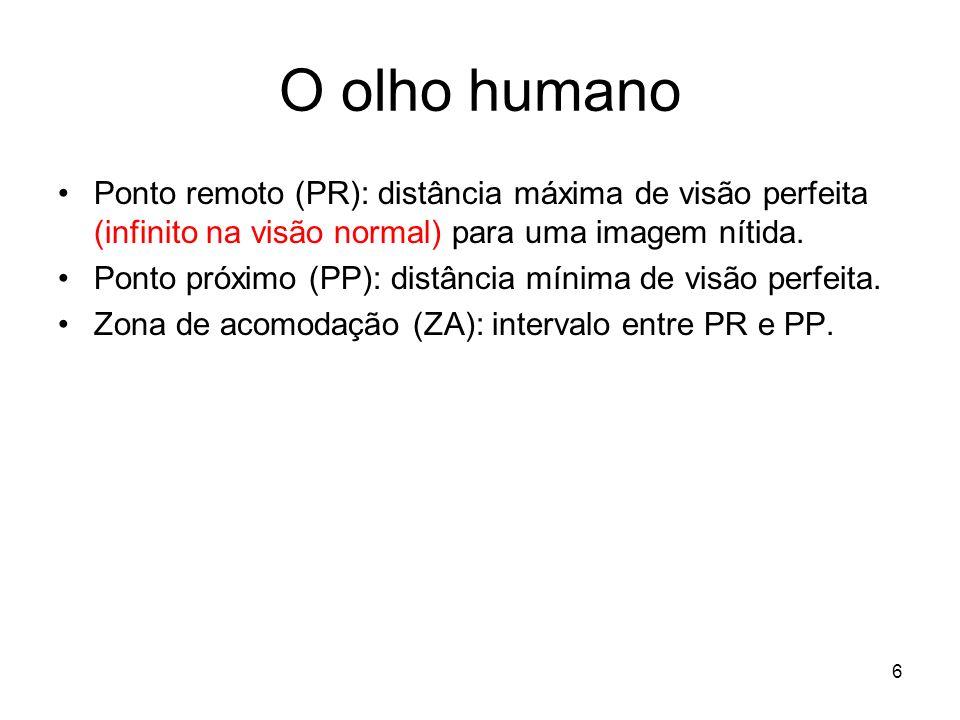 6 O olho humano Ponto remoto (PR): distância máxima de visão perfeita (infinito na visão normal) para uma imagem nítida. Ponto próximo (PP): distância