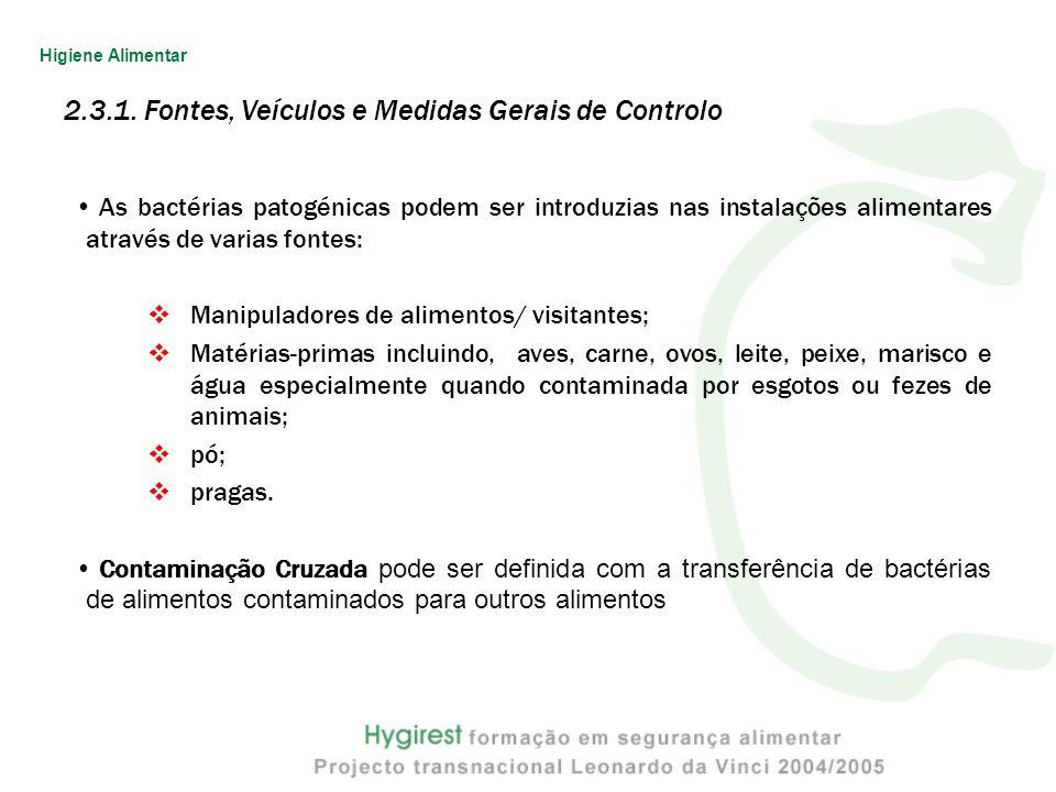 2.3.1. Fontes, Veículos e Medidas Gerais de Controlo As bactérias patogénicas podem ser introduzias nas instalações alimentares através de varias font