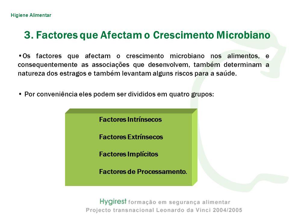 Os factores que afectam o crescimento microbiano nos alimentos, e consequentemente as associações que desenvolvem, também determinam a natureza dos es