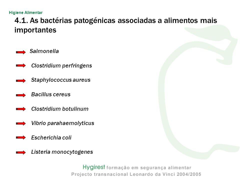 4.1. As bactérias patogénicas associadas a alimentos mais importantes Salmonella Clostridium perfringens Staphylococcus aureus Bacillus cereus Clostri