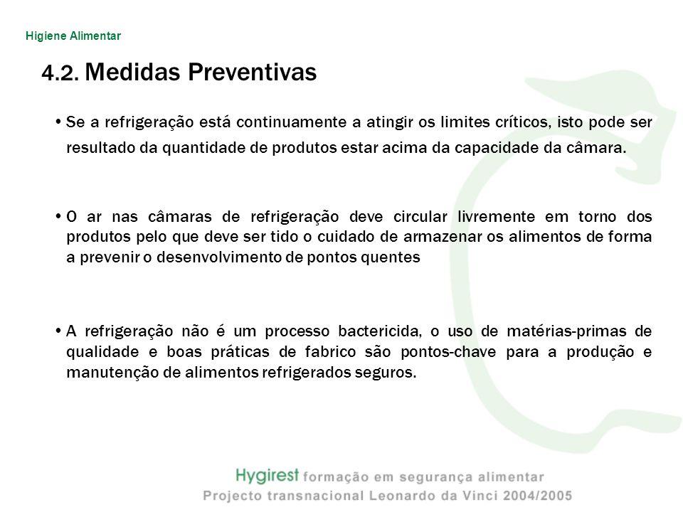 4.2. Medidas Preventivas Se a refrigeração está continuamente a atingir os limites críticos, isto pode ser resultado da quantidade de produtos estar a