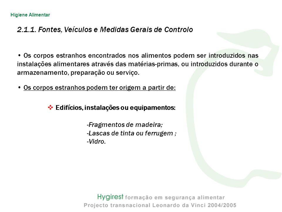2.1.1. Fontes, Veículos e Medidas Gerais de Controlo Os corpos estranhos encontrados nos alimentos podem ser introduzidos nas instalações alimentares