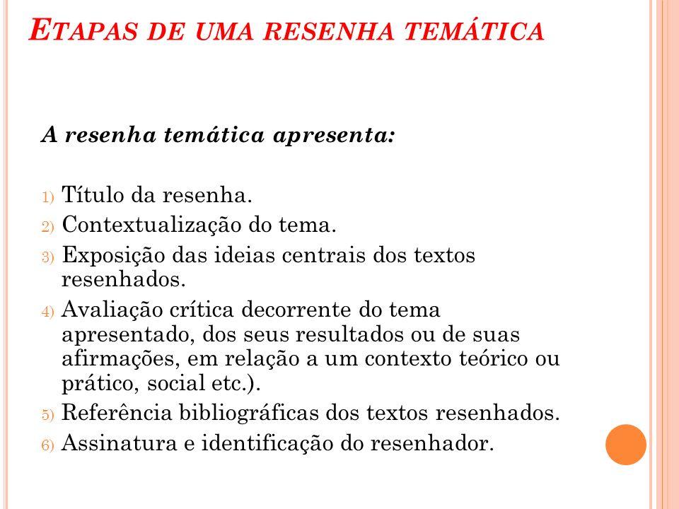 E TAPAS DE UMA RESENHA TEMÁTICA A resenha temática apresenta: 1) Título da resenha. 2) Contextualização do tema. 3) Exposição das ideias centrais dos