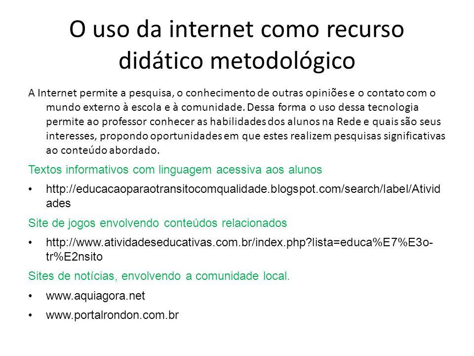 O uso da internet como recurso didático metodológico A Internet permite a pesquisa, o conhecimento de outras opiniões e o contato com o mundo externo à escola e à comunidade.