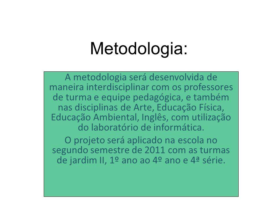 Metodologia: A metodologia será desenvolvida de maneira interdisciplinar com os professores de turma e equipe pedagógica, e também nas disciplinas de Arte, Educação Física, Educação Ambiental, Inglês, com utilização do laboratório de informática.