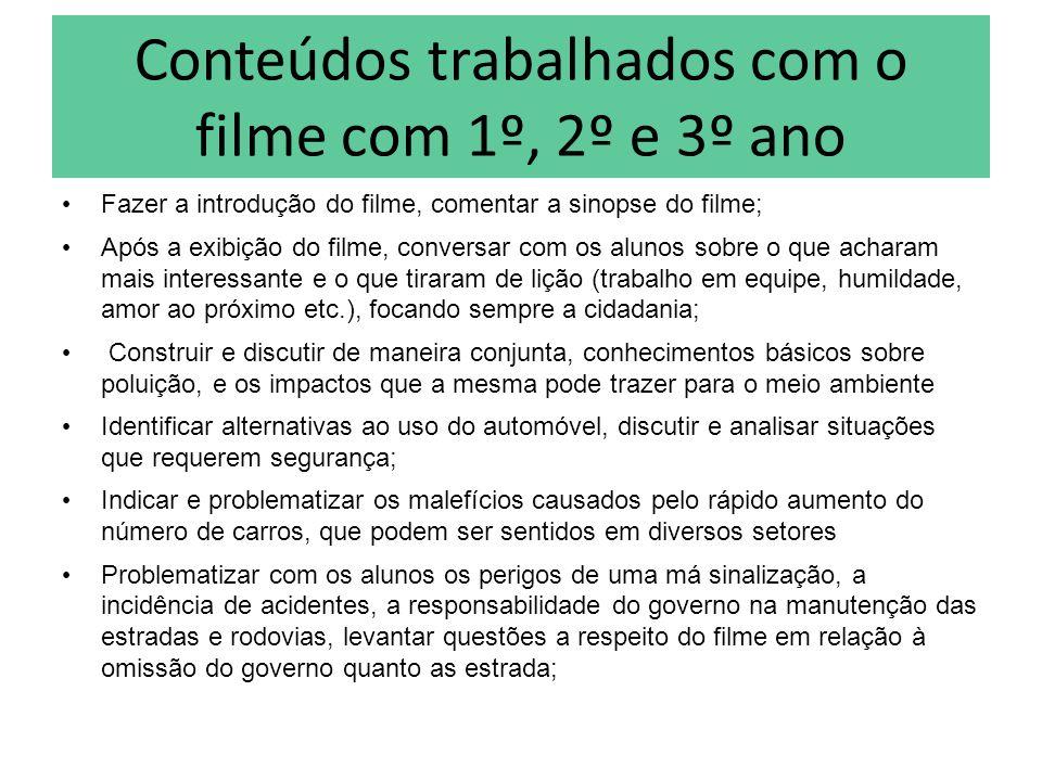 Conteúdos trabalhados com o filme com 1º, 2º e 3º ano Fazer a introdução do filme, comentar a sinopse do filme; Após a exibição do filme, conversar co