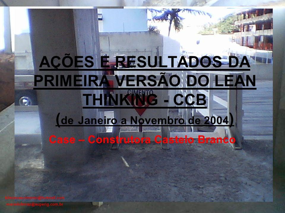 kilsonnascimento@hotmail.com macedoferraz@superig.com.br AÇÕES E RESULTADOS DA PRIMEIRA VERSÃO DO LEAN THINKING - CCB ( de Janeiro a Novembro de 2004