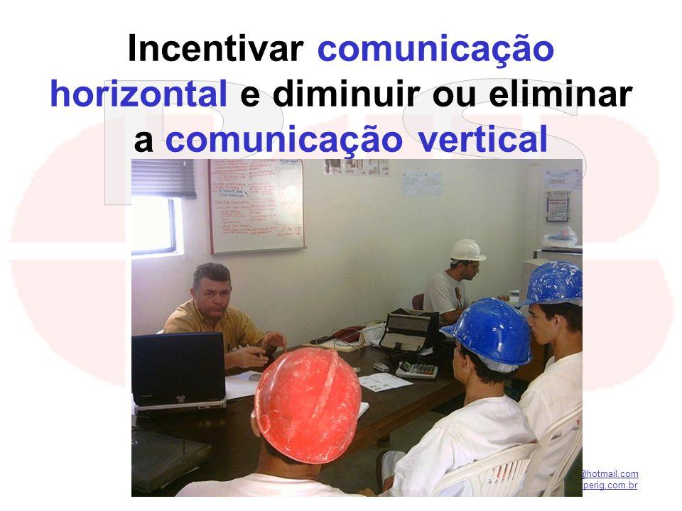 kilsonnascimento@hotmail.com macedoferraz@superig.com.br Incentivar comunicação horizontal e diminuir ou eliminar a comunicação vertical