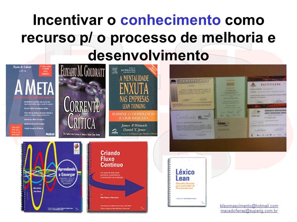 kilsonnascimento@hotmail.com macedoferraz@superig.com.br Incentivar o conhecimento como recurso p/ o processo de melhoria e desenvolvimento