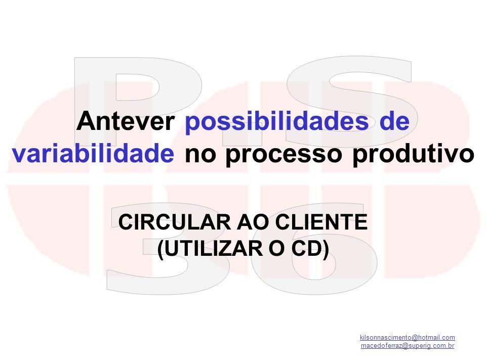 kilsonnascimento@hotmail.com macedoferraz@superig.com.br Antever possibilidades de variabilidade no processo produtivo CIRCULAR AO CLIENTE (UTILIZAR O