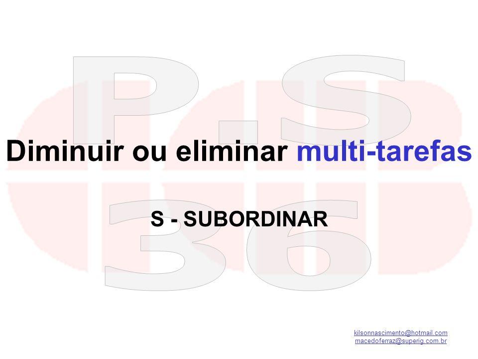 kilsonnascimento@hotmail.com macedoferraz@superig.com.br Diminuir ou eliminar multi-tarefas S - SUBORDINAR