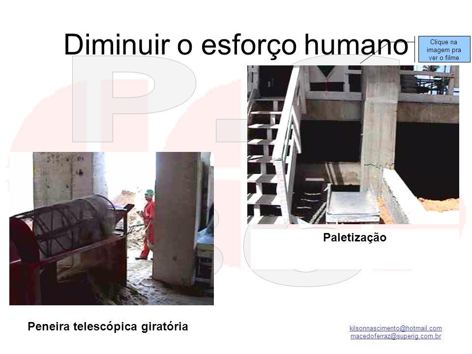 kilsonnascimento@hotmail.com macedoferraz@superig.com.br Diminuir o esforço humano Paletização Peneira telescópica giratória Clique na imagem pra ver
