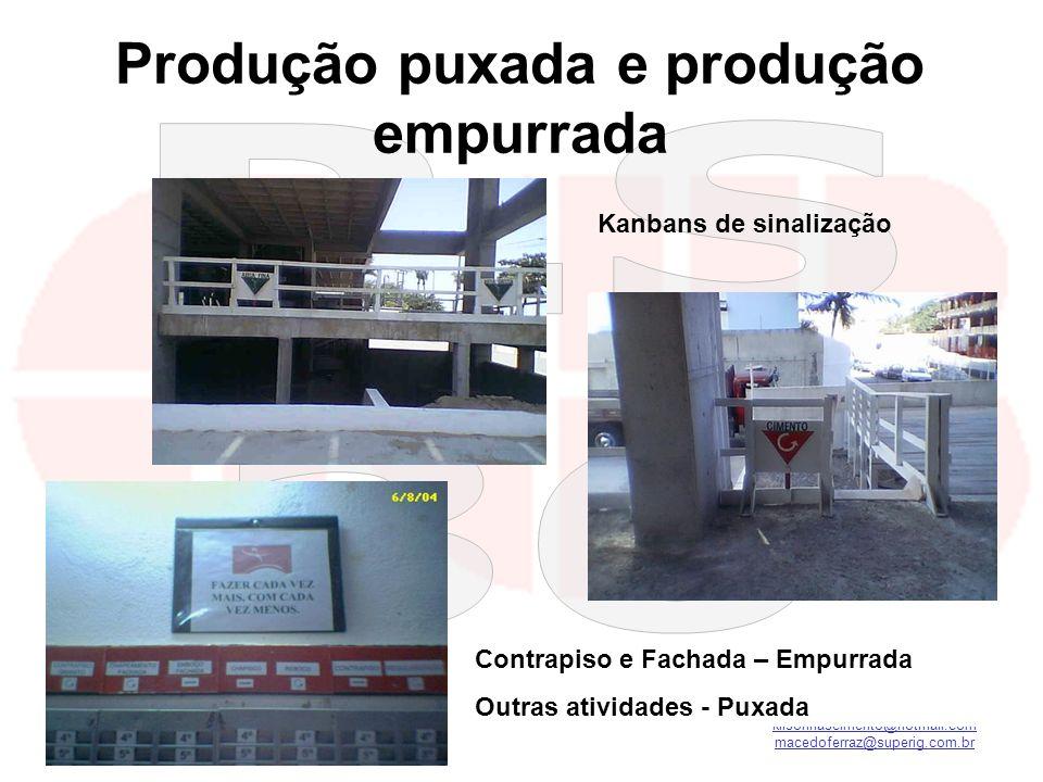 kilsonnascimento@hotmail.com macedoferraz@superig.com.br Produção puxada e produção empurrada Kanbans de sinalização Contrapiso e Fachada – Empurrada