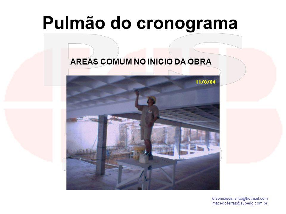 kilsonnascimento@hotmail.com macedoferraz@superig.com.br AREAS COMUM NO INICIO DA OBRA Pulmão do cronograma