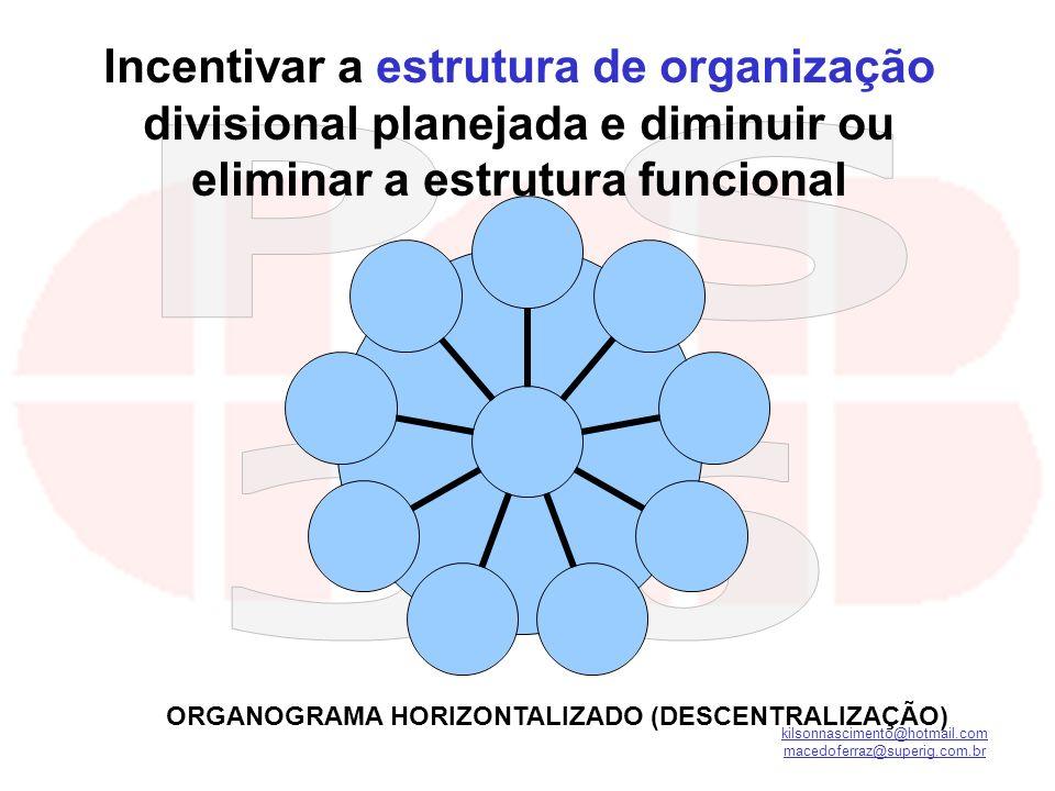 kilsonnascimento@hotmail.com macedoferraz@superig.com.br Incentivar a estrutura de organização divisional planejada e diminuir ou eliminar a estrutura