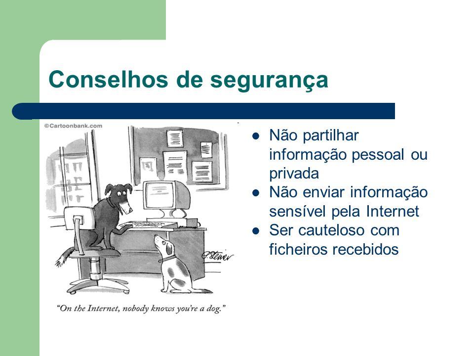 Conselhos de segurança Não partilhar informação pessoal ou privada Não enviar informação sensível pela Internet Ser cauteloso com ficheiros recebidos