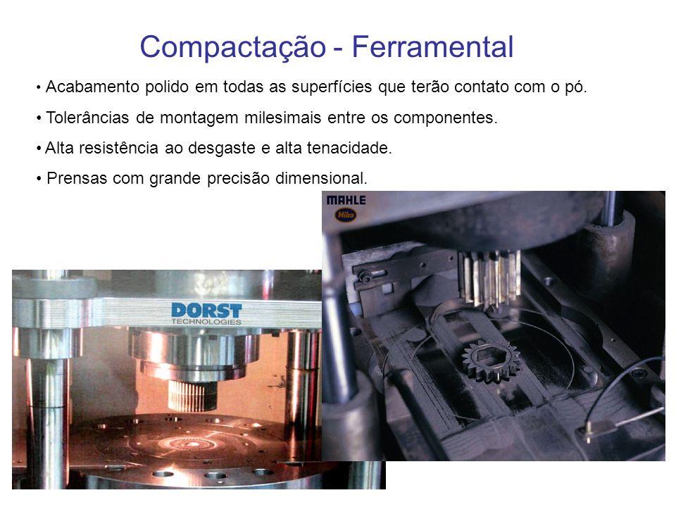 Compactação - Ferramental Acabamento polido em todas as superfícies que terão contato com o pó. Tolerâncias de montagem milesimais entre os componente