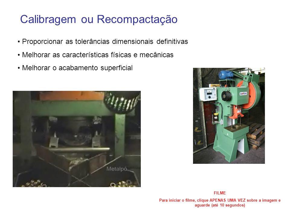 Calibragem ou Recompactação Proporcionar as tolerâncias dimensionais definitivas Melhorar as características físicas e mecânicas Melhorar o acabamento