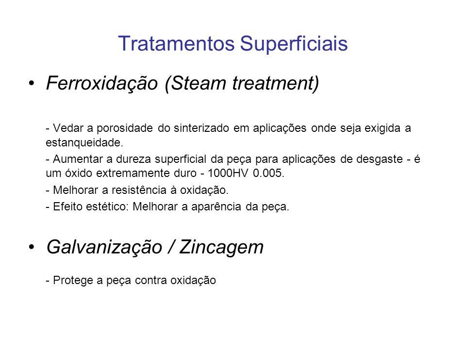 Tratamentos Superficiais Ferroxidação (Steam treatment) - Vedar a porosidade do sinterizado em aplicações onde seja exigida a estanqueidade. - Aumenta