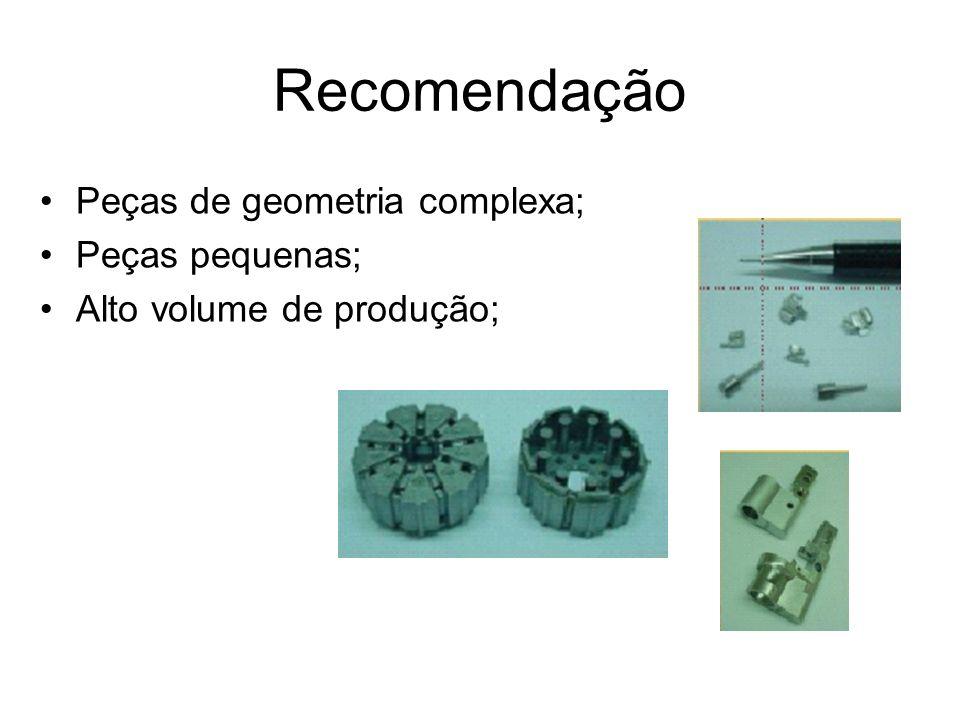 Recomendação Peças de geometria complexa; Peças pequenas; Alto volume de produção;