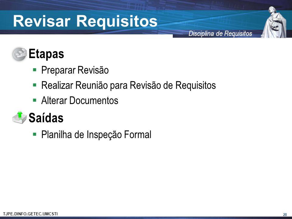 TJPE.DINFO.GETEC.UMCSTI Disciplina de Requisitos Revisar Requisitos Etapas Preparar Revisão Realizar Reunião para Revisão de Requisitos Alterar Documentos Saídas Planilha de Inspeção Formal 28