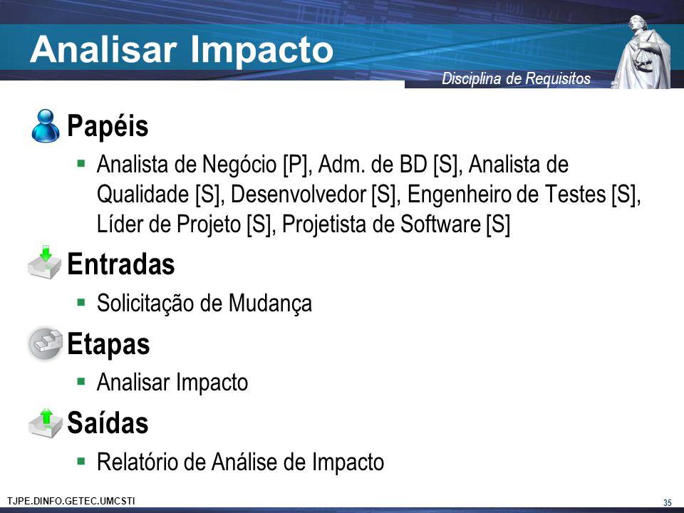 TJPE.DINFO.GETEC.UMCSTI Disciplina de Requisitos Analisar Impacto Papéis Analista de Negócio [P], Adm.