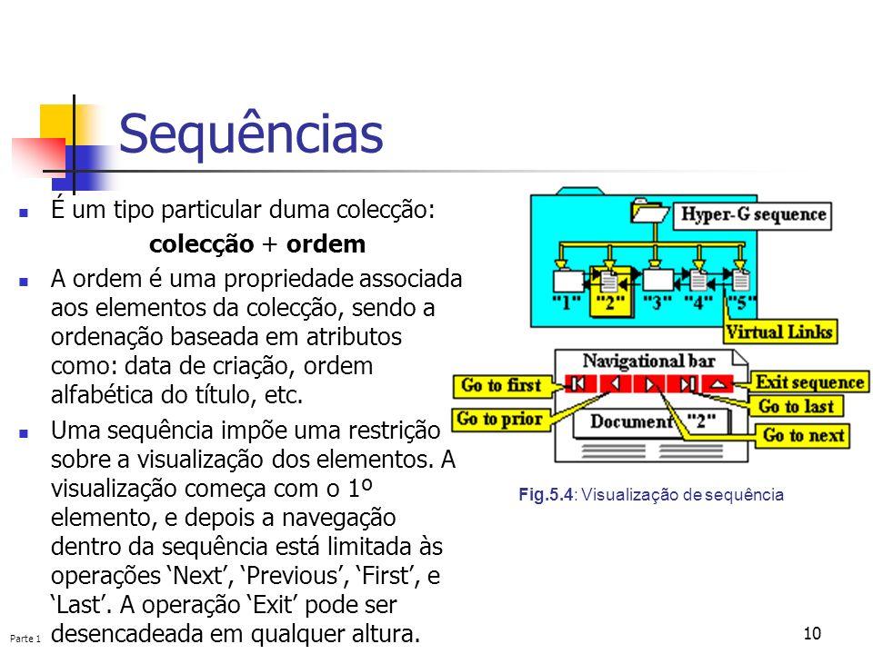 Parte 1 10 Sequências Fig.5.4: Visualização de sequência É um tipo particular duma colecção: colecção + ordem A ordem é uma propriedade associada aos
