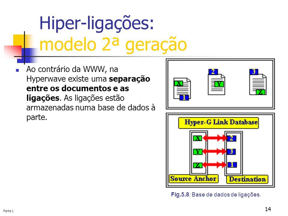 Parte 1 14 Hiper-ligações: modelo 2ª geração Ao contrário da WWW, na Hyperwave existe uma separação entre os documentos e as ligações. As ligações est