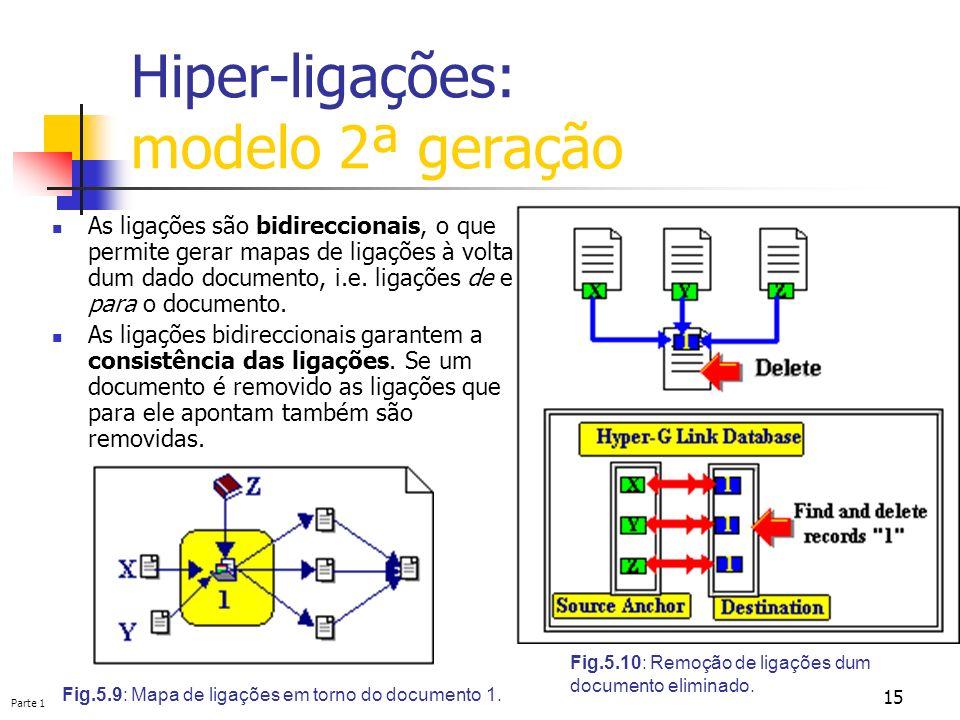 Parte 1 15 Hiper-ligações: modelo 2ª geração Fig.5.9: Mapa de ligações em torno do documento 1. Fig.5.10: Remoção de ligações dum documento eliminado.