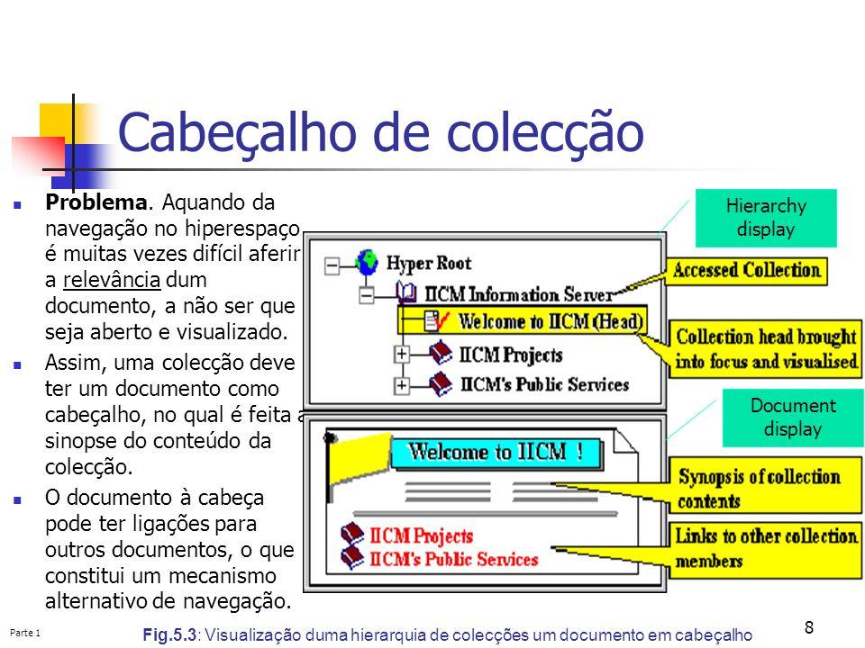 Parte 1 8 Cabeçalho de colecção Fig.5.3: Visualização duma hierarquia de colecções um documento em cabeçalho Problema. Aquando da navegação no hiperes