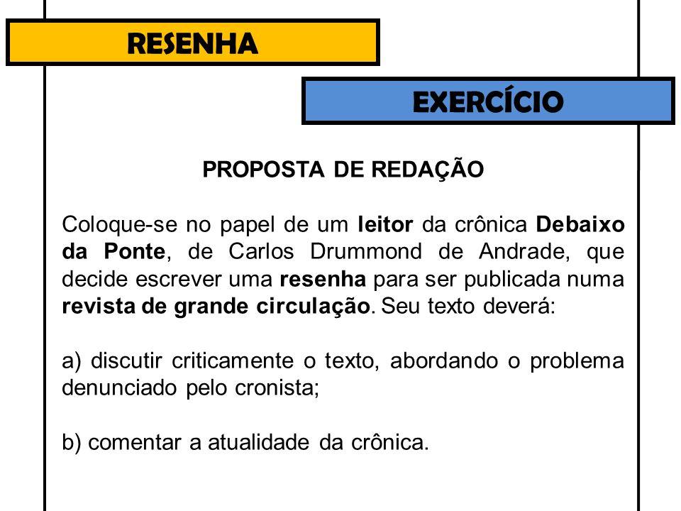 RESENHA EXERCÍCIO PROPOSTA DE REDAÇÃO Coloque-se no papel de um leitor da crônica Debaixo da Ponte, de Carlos Drummond de Andrade, que decide escrever