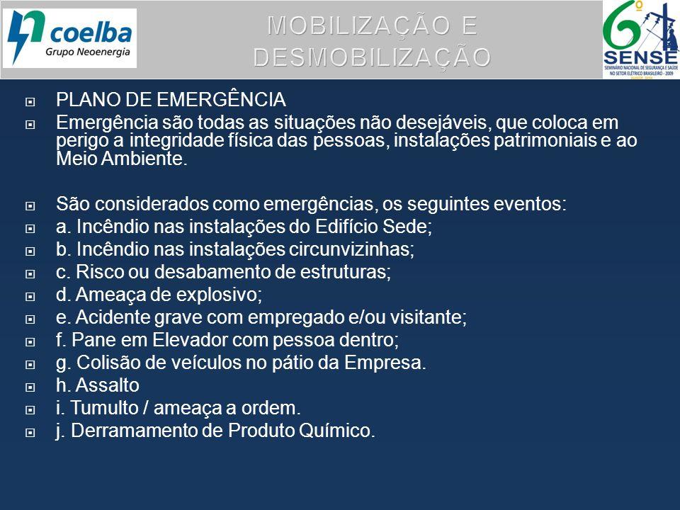PLANO DE EMERGÊNCIA Emergência são todas as situações não desejáveis, que coloca em perigo a integridade física das pessoas, instalações patrimoniais