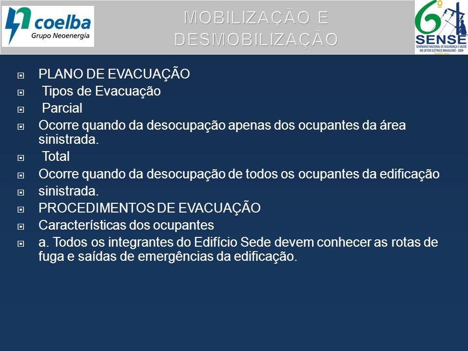 PLANO DE EVACUAÇÃO Tipos de Evacuação Parcial Ocorre quando da desocupação apenas dos ocupantes da área sinistrada. Total Ocorre quando da desocupação