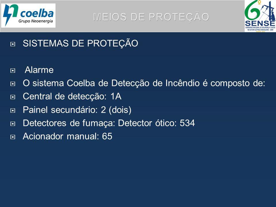 SISTEMAS DE PROTEÇÃO Alarme O sistema Coelba de Detecção de Incêndio é composto de: Central de detecção: 1A Painel secundário: 2 (dois) Detectores de