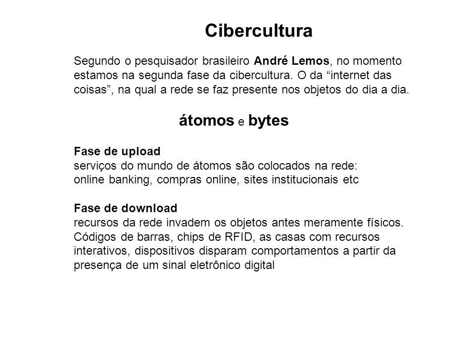 Segundo o pesquisador brasileiro André Lemos, no momento estamos na segunda fase da cibercultura. O da internet das coisas, na qual a rede se faz pres