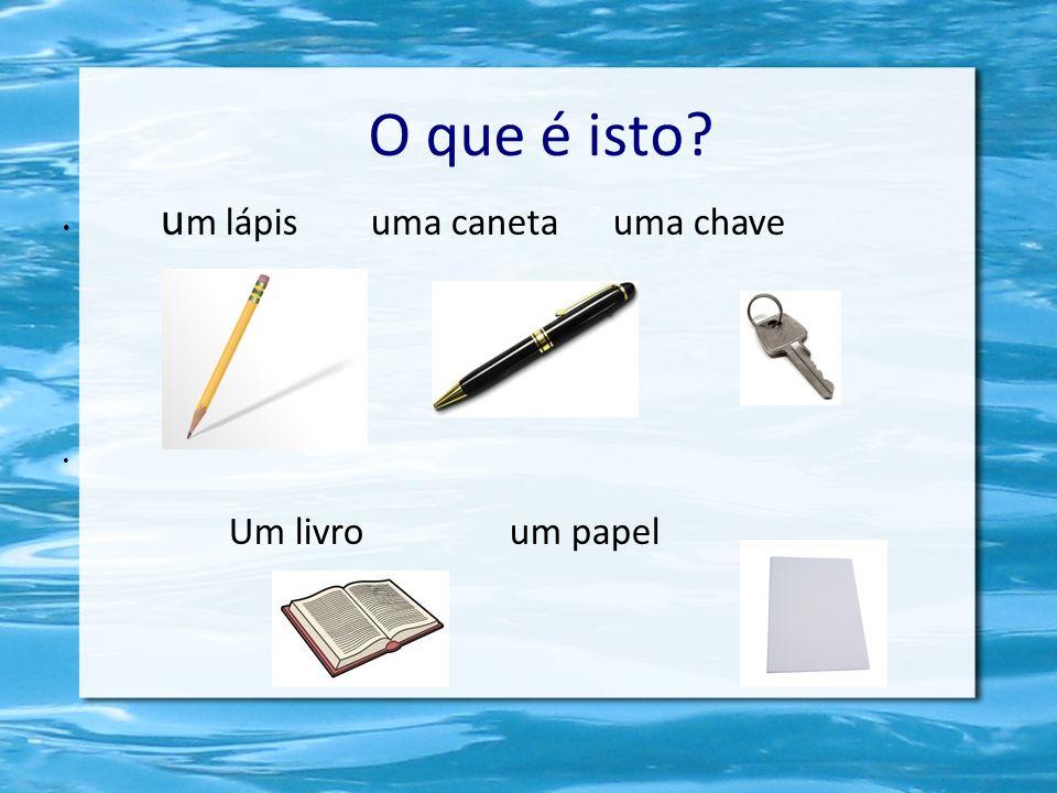 O que é isto? u m lápis uma caneta uma chave Um livro um papel