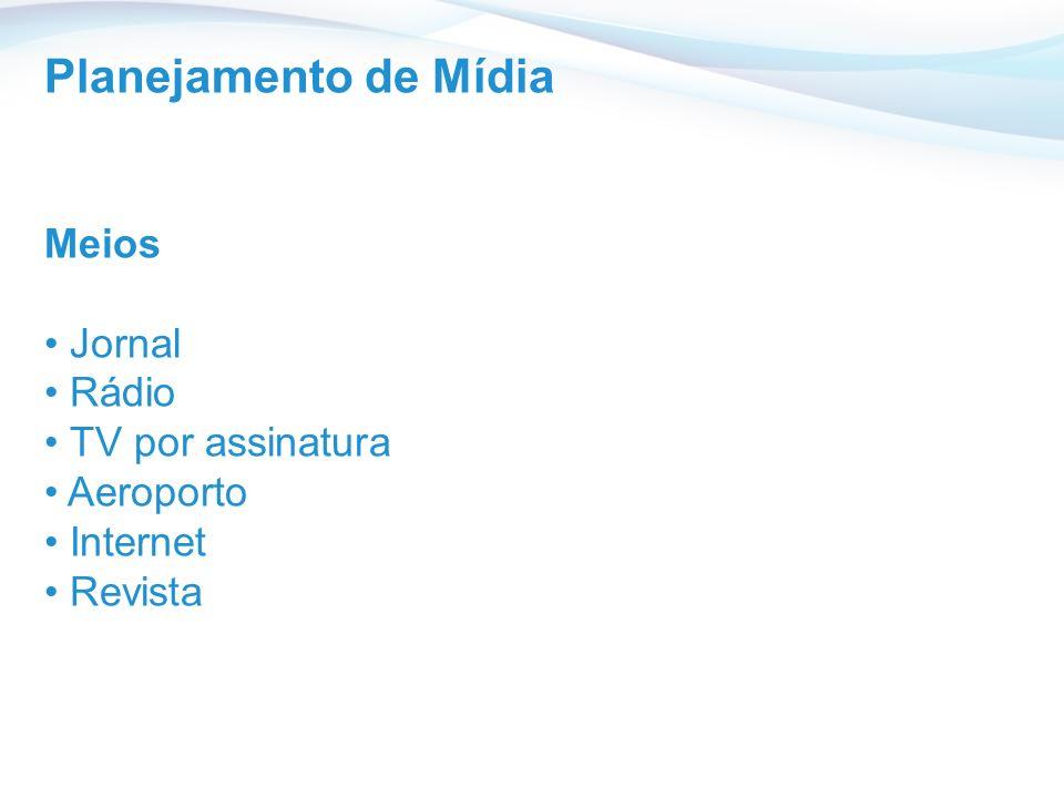 Planejamento de Mídia Meios Jornal Rádio TV por assinatura Aeroporto Internet Revista