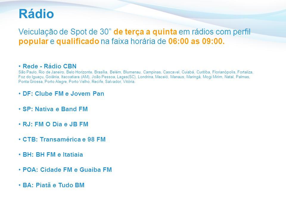 Rádio Veiculação de Spot de 30 de terça a quinta em rádios com perfil popular e qualificado na faixa horária de 06:00 as 09:00.