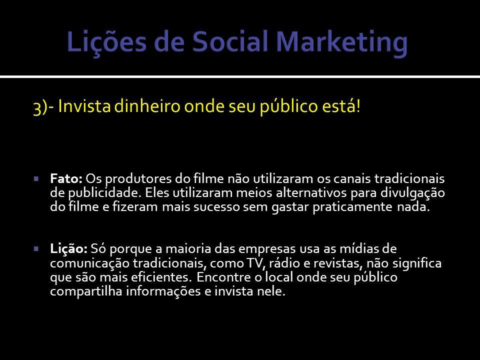 4)- Conecte-se nas novas mídias Fato: Os cineastas Daniel Myrick e Eduardo Sánchez vincularam sua campanha com um site, que estava à frente da sua época, em 1999.