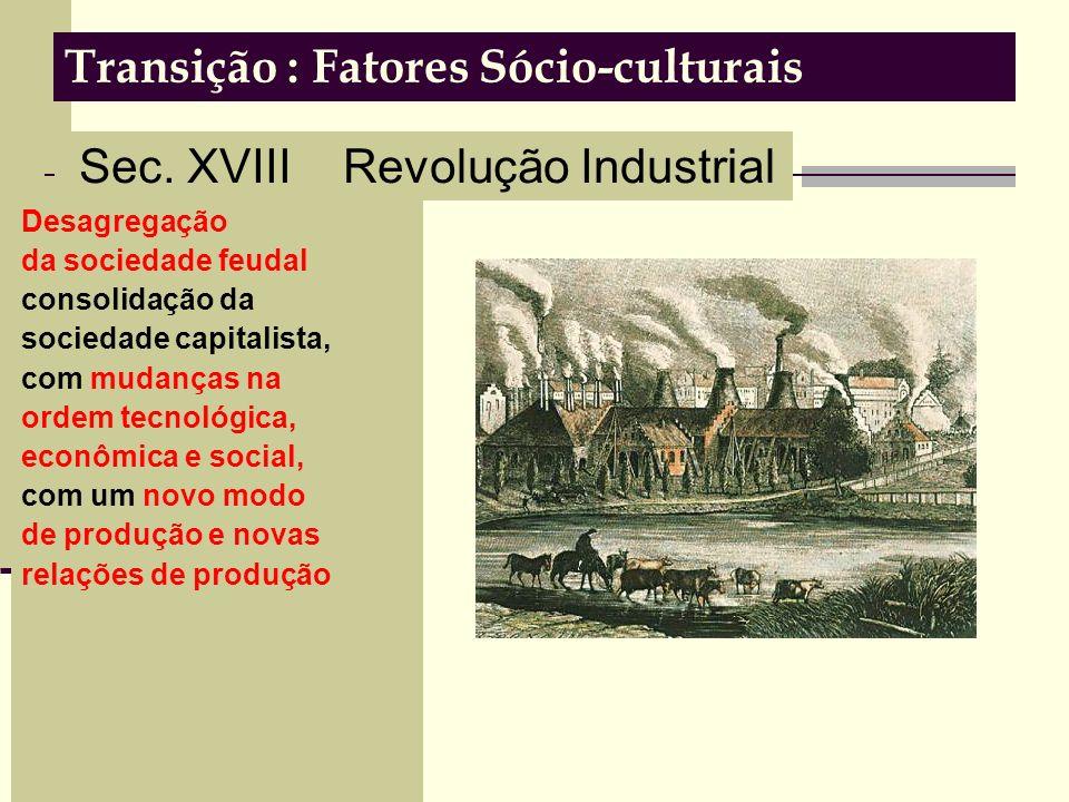Transição : Fatores Sócio-culturais Desagregação da sociedade feudal consolidação da sociedade capitalista, com mudanças na ordem tecnológica, econômica e social, com um novo modo de produção e novas relações de produção Sec.