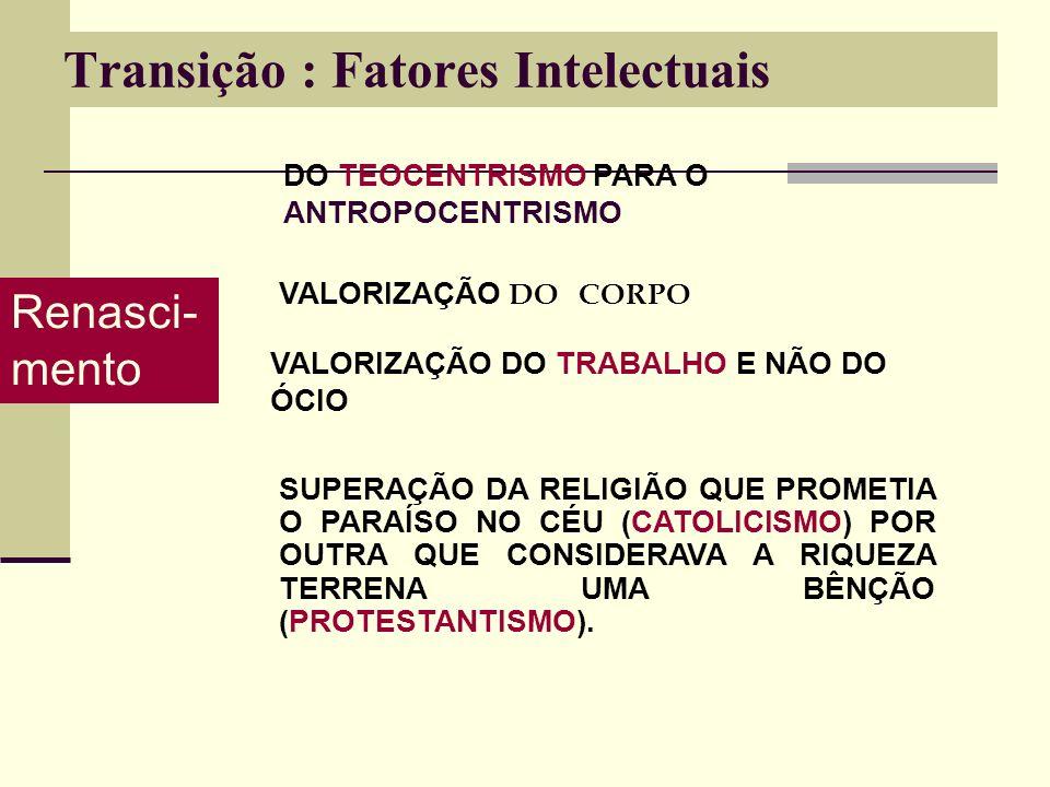 Transição : Fatores Intelectuais Renasci- mento DO TEOCENTRISMO PARA O ANTROPOCENTRISMO VALORIZAÇÃO DO CORPO VALORIZAÇÃO DO TRABALHO E NÃO DO ÓCIO SUPERAÇÃO DA RELIGIÃO QUE PROMETIA O PARAÍSO NO CÉU (CATOLICISMO) POR OUTRA QUE CONSIDERAVA A RIQUEZA TERRENA UMA BÊNÇÃO (PROTESTANTISMO).