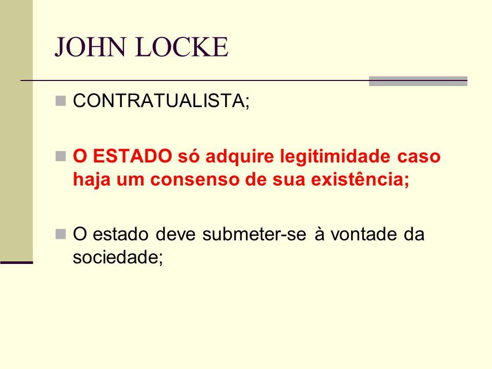 JOHN LOCKE CONTRATUALISTA; O ESTADO só adquire legitimidade caso haja um consenso de sua existência; O estado deve submeter-se à vontade da sociedade;