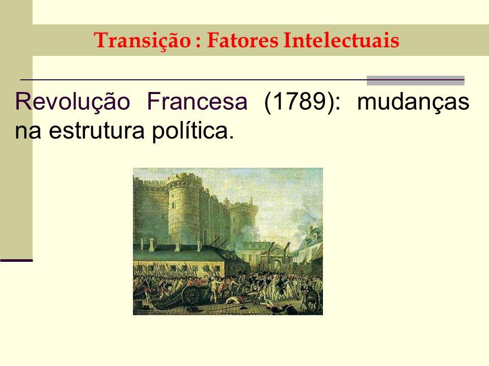 Transição : Fatores Intelectuais Revolução Francesa (1789): mudanças na estrutura política.