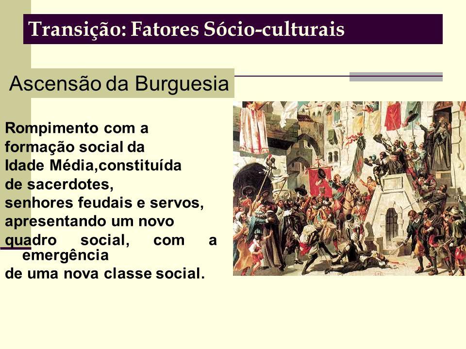 Transição: Fatores Sócio-culturais Rompimento com a formação social da Idade Média,constituída de sacerdotes, senhores feudais e servos, apresentando um novo quadro social, com a emergência de uma nova classe social.