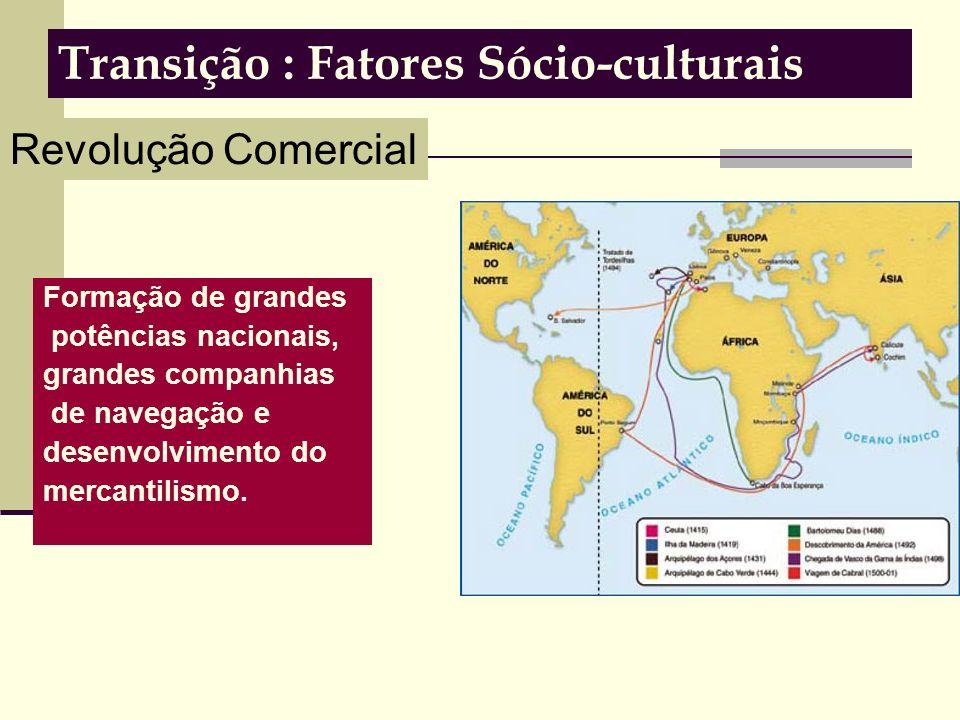 Transição : Fatores Sócio-culturais Formação de grandes potências nacionais, grandes companhias de navegação e desenvolvimento do mercantilismo.
