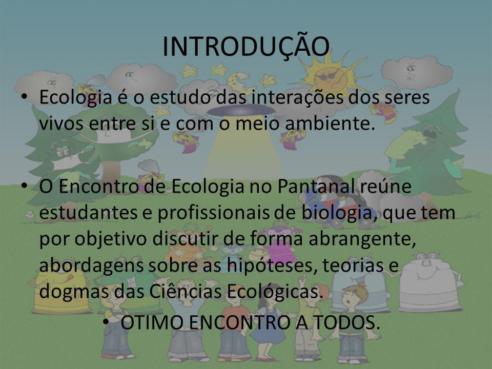 INTRODUÇÃO Ecologia é o estudo das interações dos seres vivos entre si e com o meio ambiente.