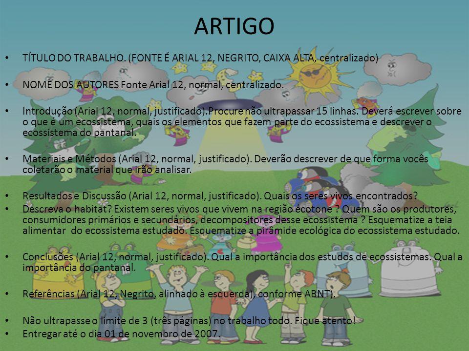 ARTIGO TÍTULO DO TRABALHO.