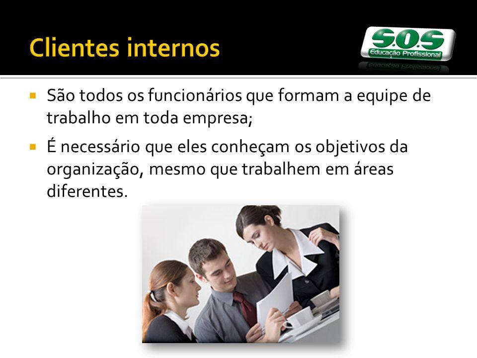 Clientes internos São todos os funcionários que formam a equipe de trabalho em toda empresa; É necessário que eles conheçam os objetivos da organizaçã