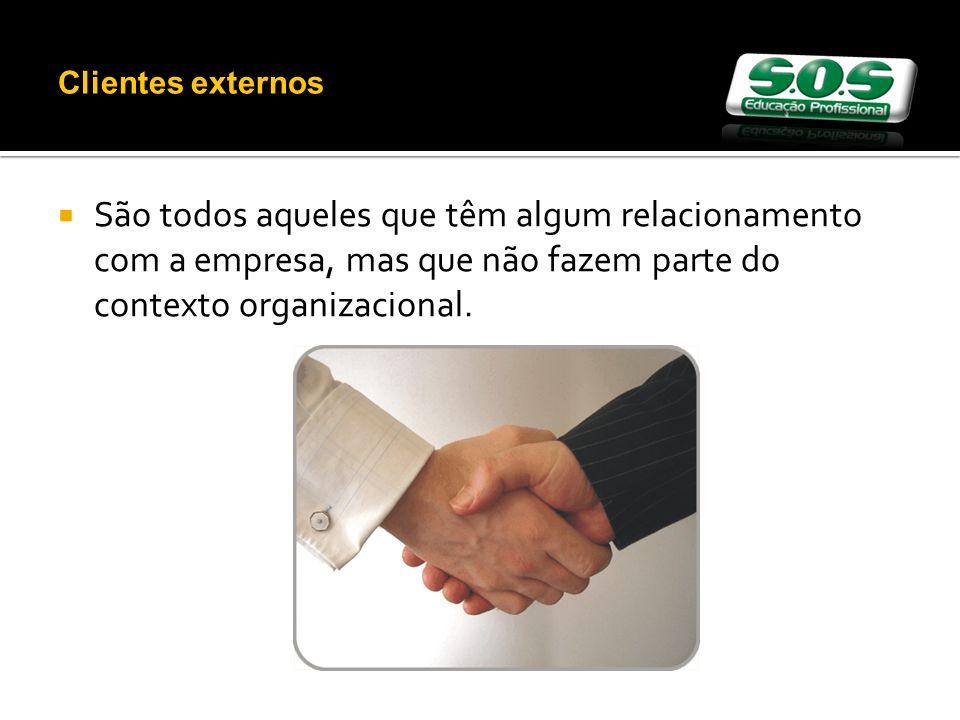 São todos aqueles que têm algum relacionamento com a empresa, mas que não fazem parte do contexto organizacional.